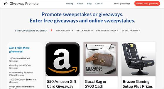 Giveaway promote website