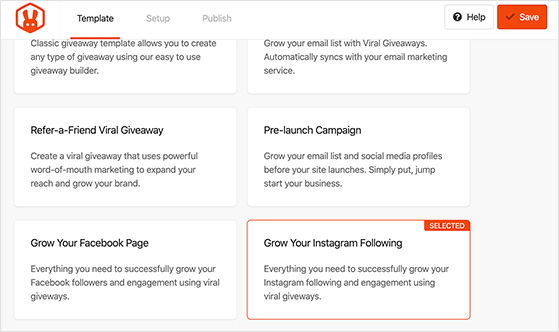 Grow your Instagram following template