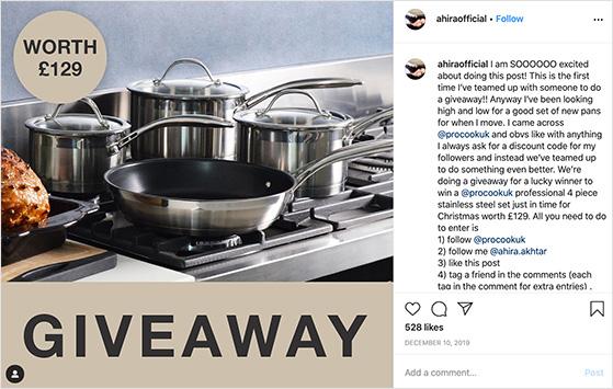 Instagram influencer giveaway examples