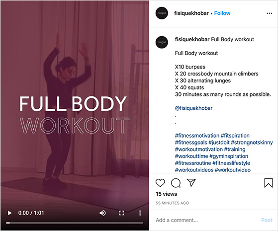 Instagram workout video