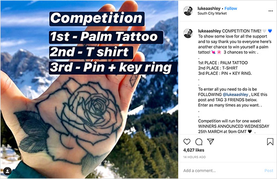 Multiple winner instagram contest example