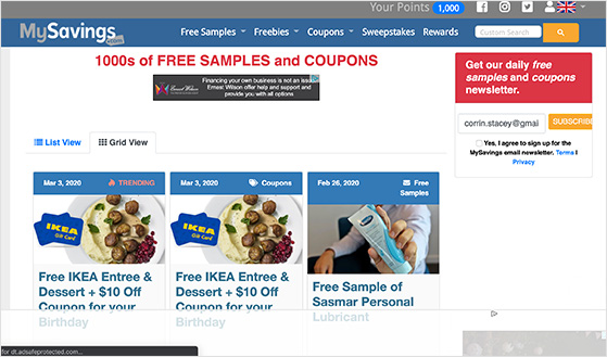 My Savings free samples, coupons, and sweepstakes