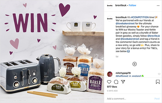 Product feature instagram giveaway examples
