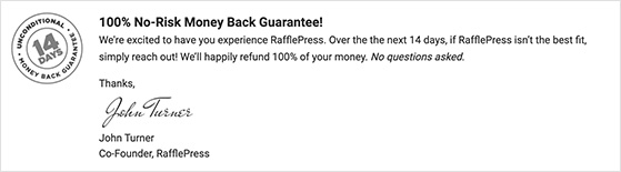 RafflePress money back guarantee