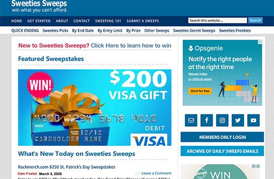 Sweeties Sweeps online giveaway website