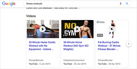 fitness videos in search results