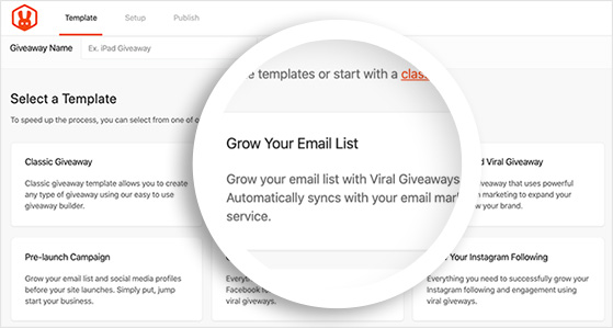 Email list giveaway template