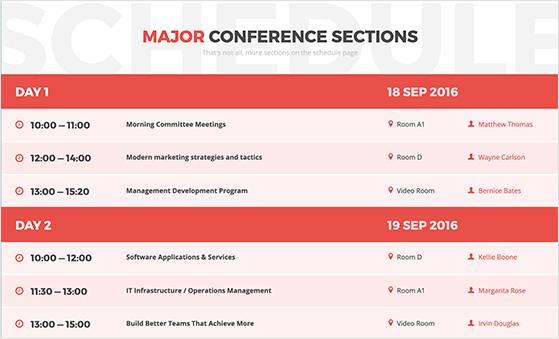 event agenda page