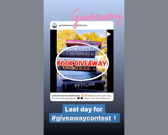 Example of using bold text to highlight giveaway posts in instagram stories