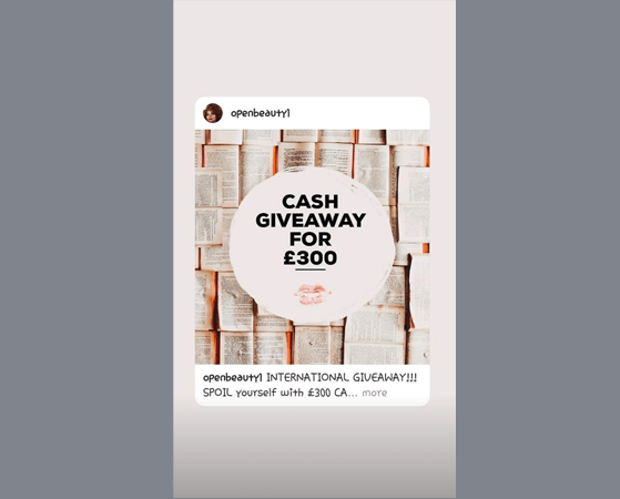 Flash Cash giveaway in Instagram Stories