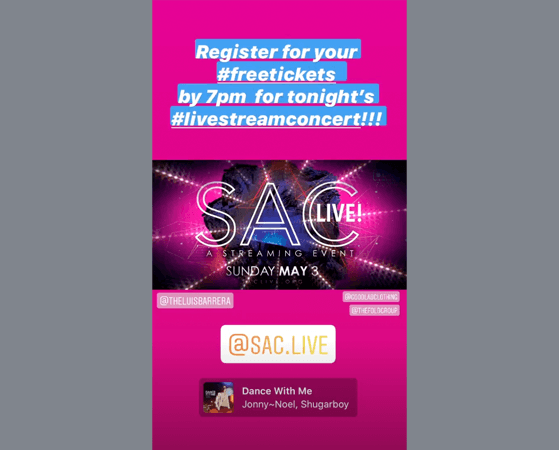 Free tickets instagram story giveaway