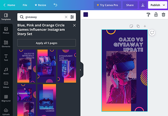 Canva instagram stories template for giveaways