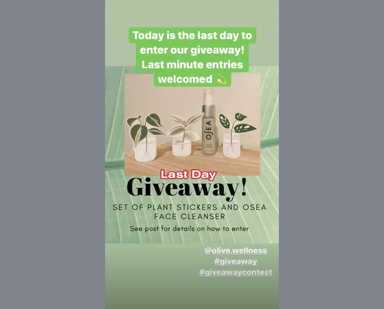 Instagram story giveaway hashtags