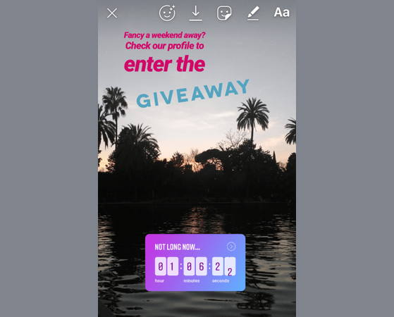 Instagram story giveaway vacation