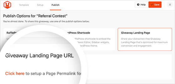 Publish options for giveaway landing page
