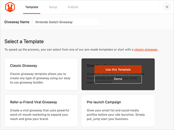 Grow your email list giveaway template