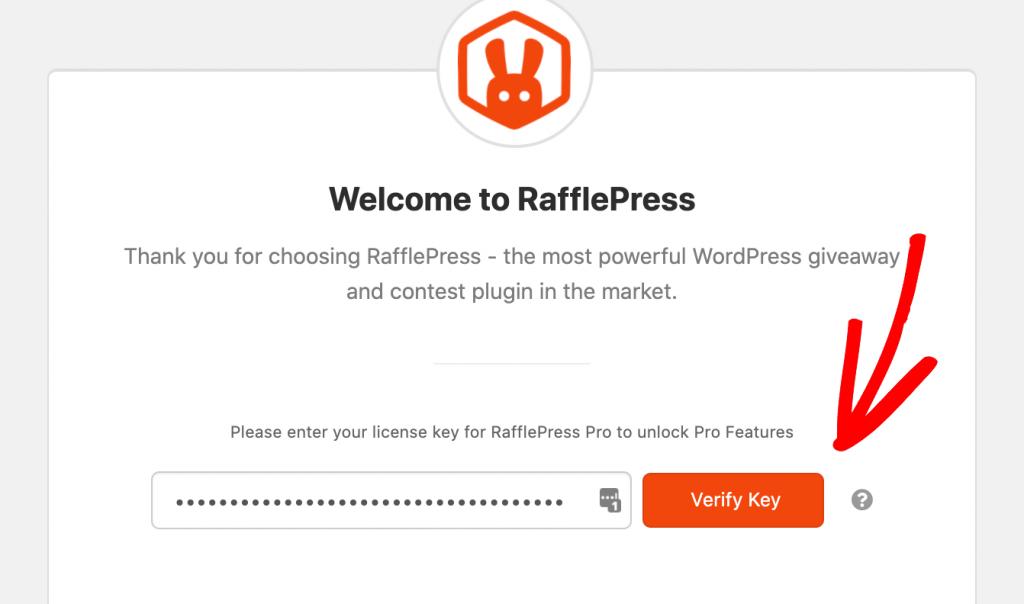 Verify the RafflePress license key