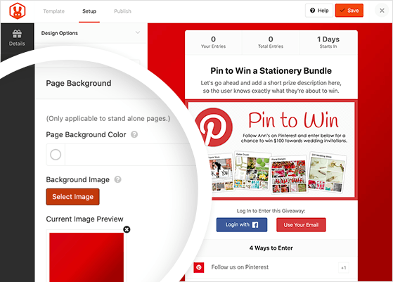 choose a background image for your Pinterest contest landing page