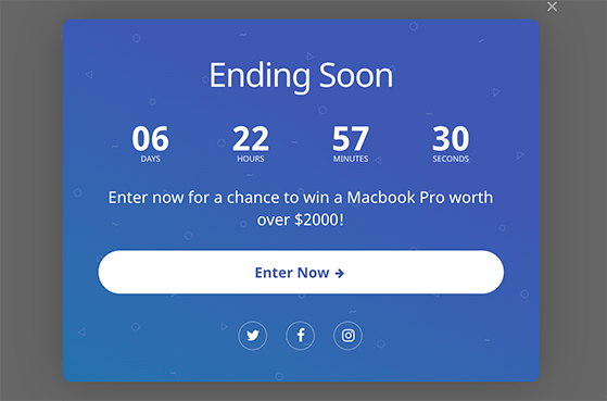 Use a giveaway countdown timer to create a sense of urgency