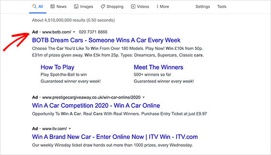 Use google ads to promote your giveaway online