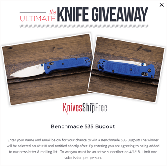 Giveaway by KnivesShipFree using OptinMonster to increase sales