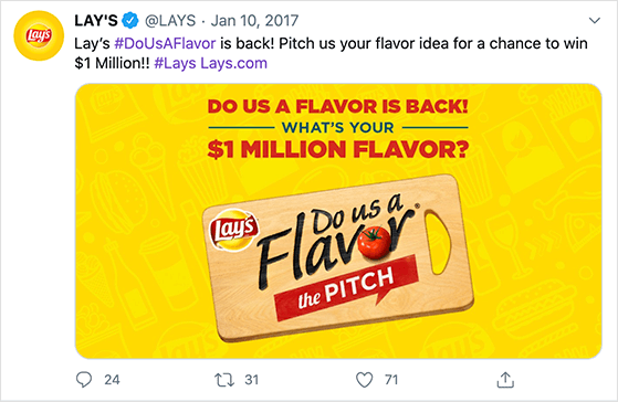 Lays UGC contest example on Twitter