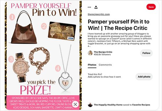 Pinterest contest prize