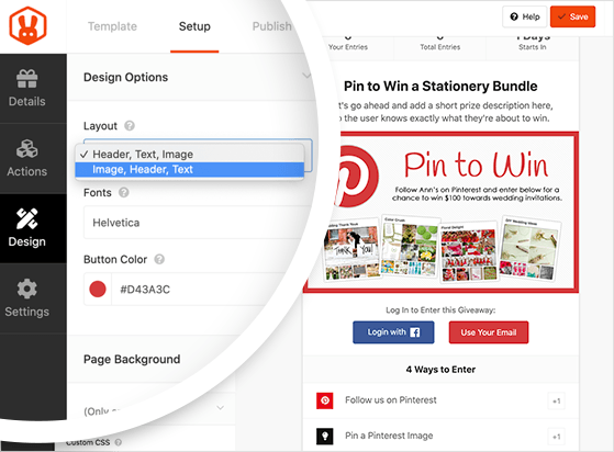 Choose the design options for your Pinterest contest