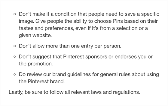 Pinterest contest guidelines