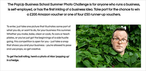 PopUp business school photo challenge contest