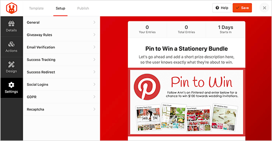 Choose the settings for your Pinterest contest