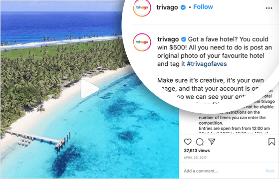 UGC campgaign example from Trivago