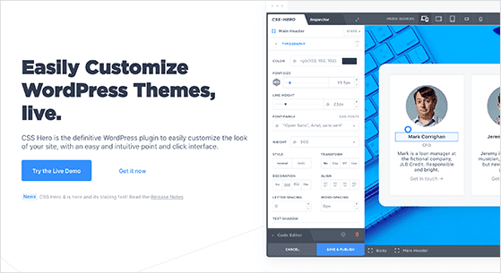 CSS Hero is the best WordPress theme editor and customizer