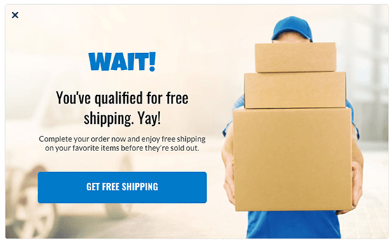Offer free shipping in popups to get users to finish shopping