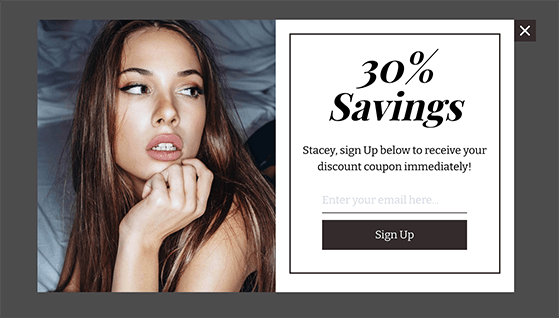 Personalize your exit popups with the users' name