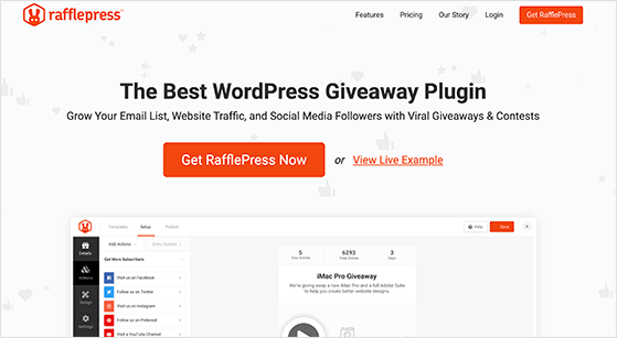 RafflePress is the best giveaway plugin for WordPress