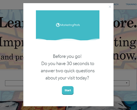 Use survey popups to gather user feedback about your business