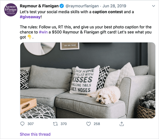 Twitter caption contest giveaway examples