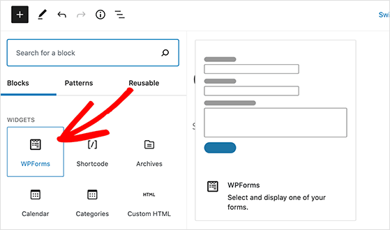 Click the WPForms block to add it to your page