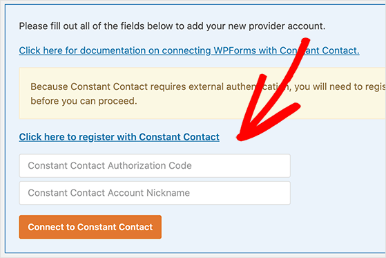 Click the register link to connect wpforms with constant contact