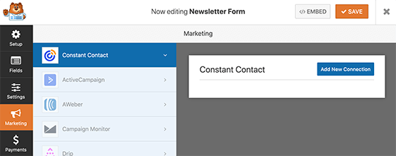 Click the button to add a new constant contact connection
