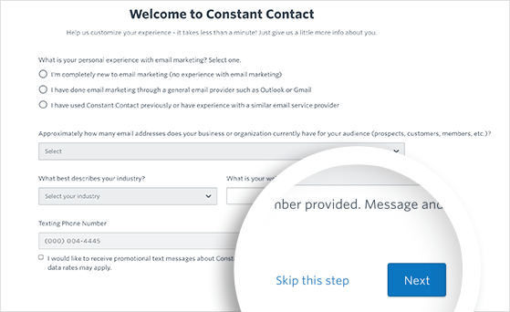 Click Skip this step on the constant contact welcome page