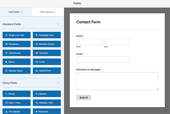 Your template will appear in the contact form builder