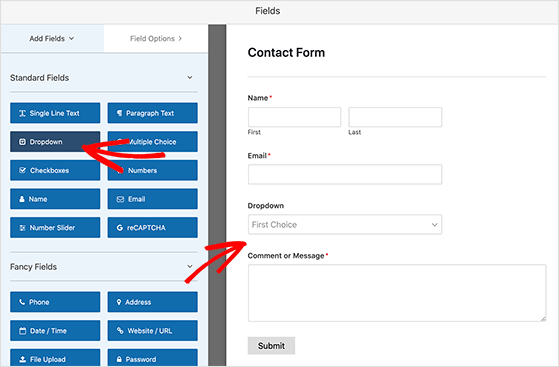 You can drag and drop contact form field to customize your form