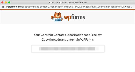 Copy the wpforms authorization code