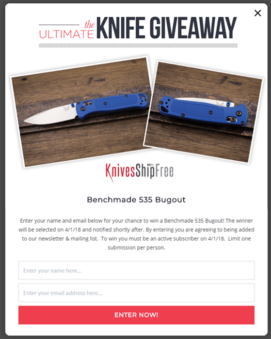 Knives Ship Free giveaway to generate leads