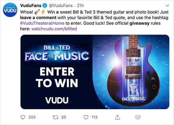 Twitter reply to win giveaway idea