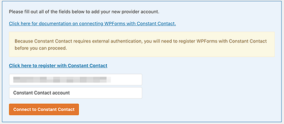 Paste your authorization code from constant contact into wpforms