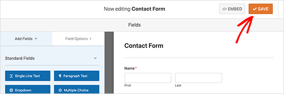 Click save to preserve your contact form settings
