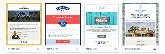 Select an email template for your welcome email.